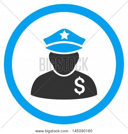 Financial Policeman rounded icon. Glyph illustration style is flat iconic bicolor symbol, blue and gray colors, white background.