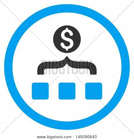 Money Aggregator rounded icon. Glyph illustration style is flat iconic bicolor symbol, blue and gray colors, white background.