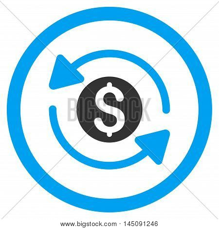Money Turnover rounded icon. Glyph illustration style is flat iconic bicolor symbol, blue and gray colors, white background.