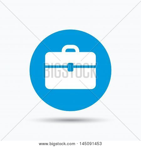 Briefcase icon. Diplomat handbag symbol. Business case sign. Blue circle button with flat web icon. Vector