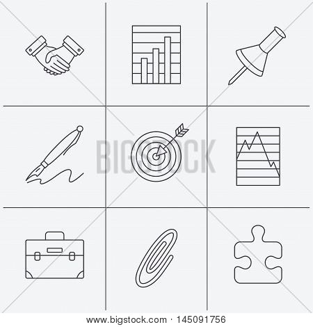 Handshake, graph charts and target icons. Puzzle, pushpin and safety pin linear signs. Briefcase and pen flat line icons. Linear icons on white background. Vector