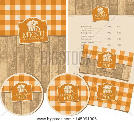 set of elements for design pub with a tablecloth with wooden planks and glass of beer