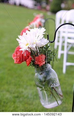 Wedding Flowers in a vase outside