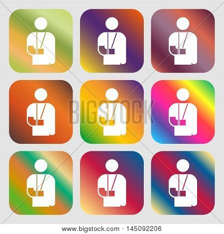 Broken Arm, Disability Icon. Nine Buttons With Bright Gradients For Beautiful Design. Vector