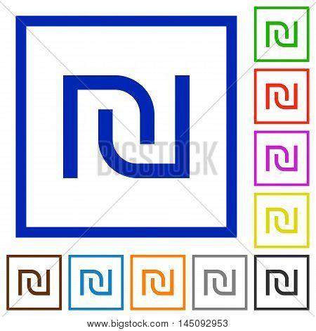 Set of color square framed Israeli new Shekel sign flat icons