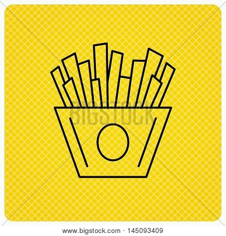 Chips icon. Fries fast food sign. Fried potatoes symbol. Linear icon on orange background. Vector