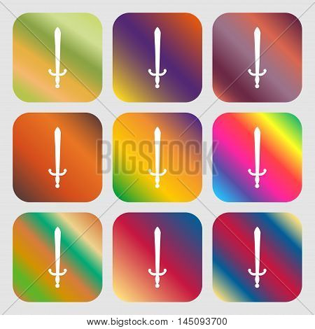 The Sword Icon. Nine Buttons With Bright Gradients For Beautiful Design. Vector