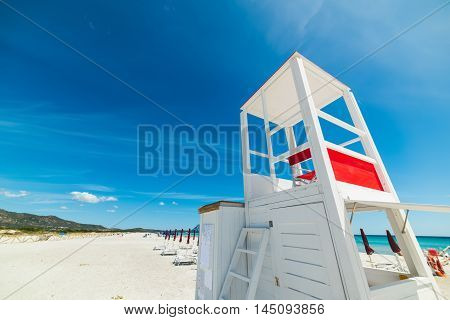 white lifeguard hut in La Cinta beach Sardinia