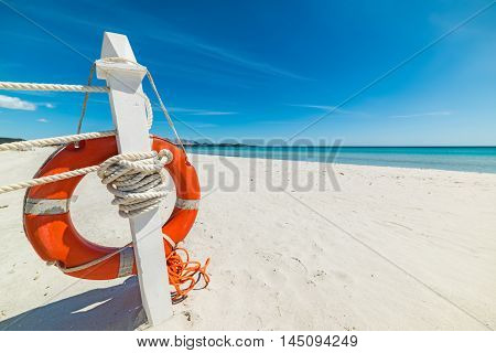 close up of a life buoy in a tropical beach Sardinia