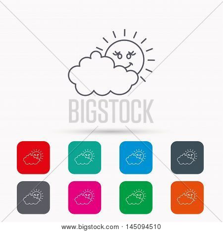 Cloudy day with sun icon. Overcast weather sign. Meteorology symbol. Linear icons in squares on white background. Flat web symbols. Vector