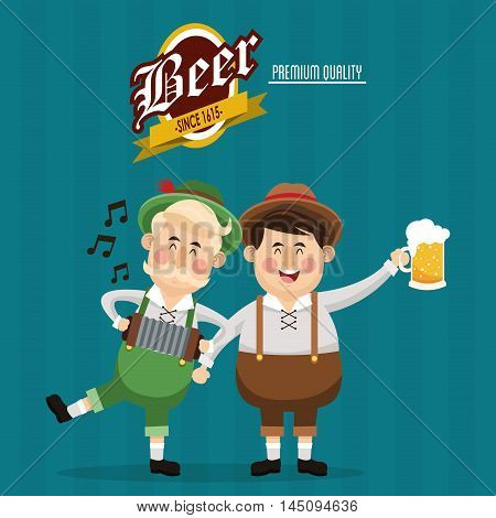man accordion cloth beer drink alcohol beverage oktoberfest festival icon. Colorful design. Vector illustration