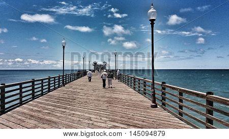 A long wooden pier at Oceanside, California, USA