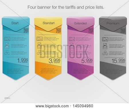 Four banner for the tariffs and price lists. Web elements. Vector design for web app. Arrow style.