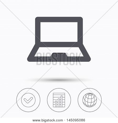 Computer icon. Notebook or laptop pc symbol. Check tick, graph chart and internet globe. Linear icons on white background. Vector
