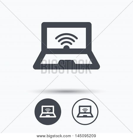 Computer with wifi icon. Notebook or laptop pc symbol. Circle buttons with flat web icon on white background. Vector