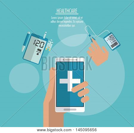 smartphone hand cross medical technology gadget health care icon. Colorful design. Vector illustration