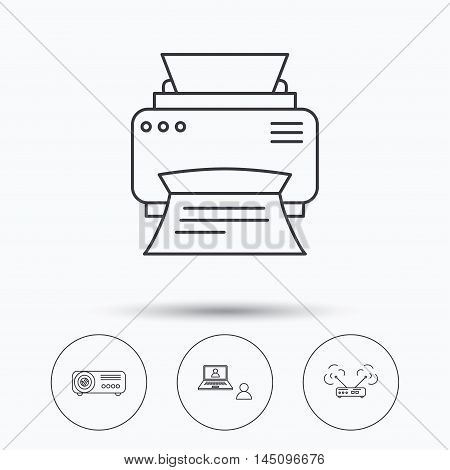 Projector, printer and wi-fi router icons. Video chat linear sign. Linear icons in circle buttons. Flat web symbols. Vector