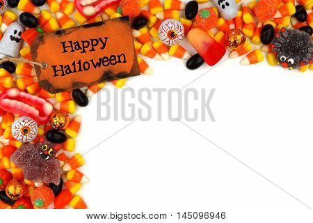 Happy Halloween Tag With Candy Top Corner Border Over A White Background