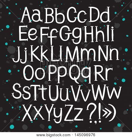 Hand drawn vector ABC letters on decorative textured background with splash. Versatile doodle typeset for your design.