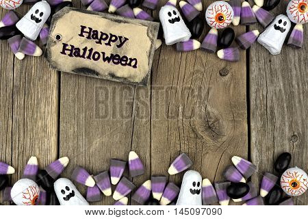 Happy Halloween Tag With Candy Double Border Against An Aged Wood Background