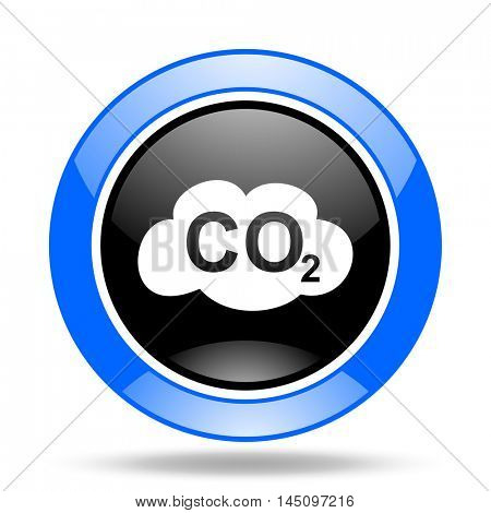 carbon dioxide round glossy blue and black web icon