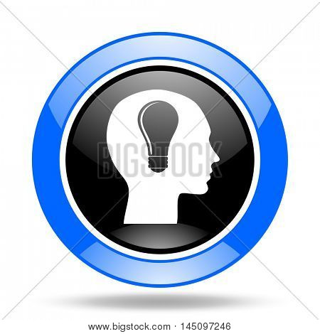 head round glossy blue and black web icon