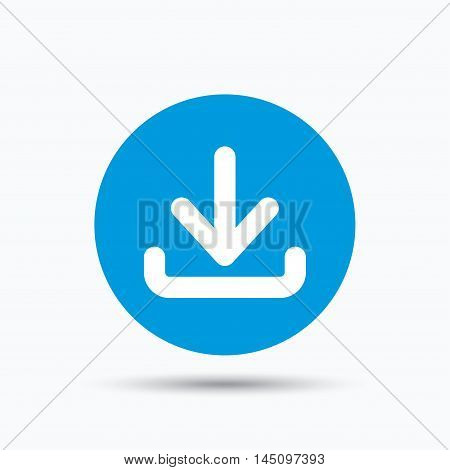 Download icon. Load internet data symbol. Blue circle button with flat web icon. Vector