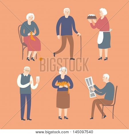 Lovely cartoon old people spending leisure time. Including different activities as knitting reding newspaper walking baking using internet.