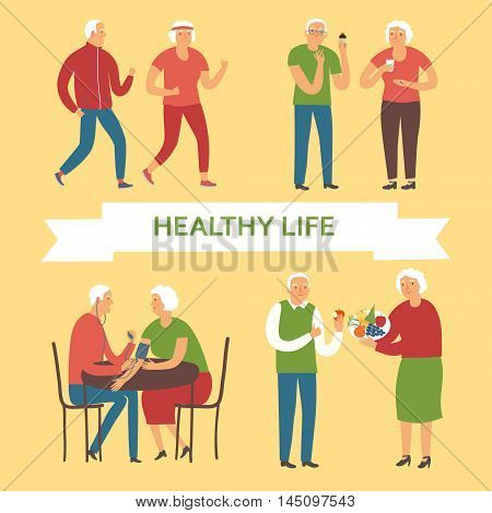 Lovely cartoon old people taking care of their health. Including different activities as running taking pills measuring blood pressure.