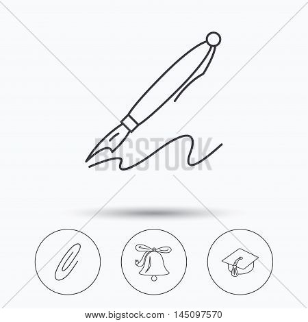 Graduation cap, pen and bell icons. Safety pin linear signs. Linear icons in circle buttons. Flat web symbols. Vector