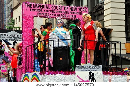 New York City - June 29 2013: Imperial Court of New York float with riders at the 2013 Gay Pride Parade on Fifth Avenue