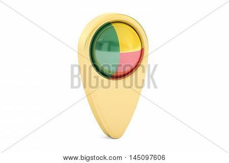 map pointer with flag of Benin 3D rendering isolated on white background