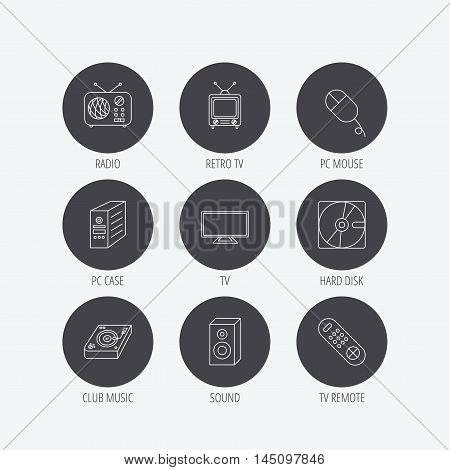Sound, club music and retro radio icons. PC mouse and case, hard disk linear signs. TV remote icons. Linear icons in circle buttons. Flat web symbols. Vector