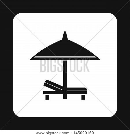 Bench and umbrella icon in simple style isolated on white background. Relax on the beach symbol