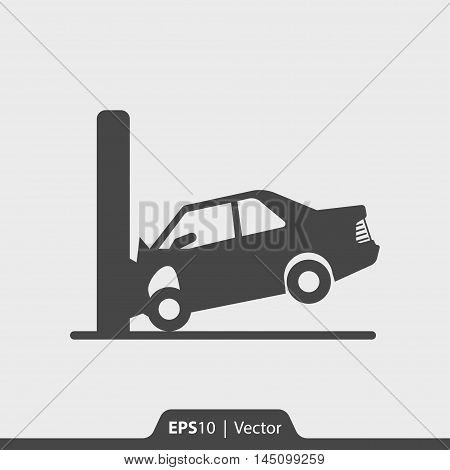 Car Crash With Wall Vector Icon For Web And Mobile