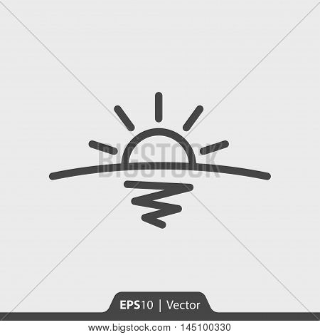 Sunrise With Horizon And Sea Vector Icon For Web And Mobile