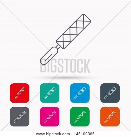File tool icon. Carpenter equipment sign. Linear icons in squares on white background. Flat web symbols. Vector
