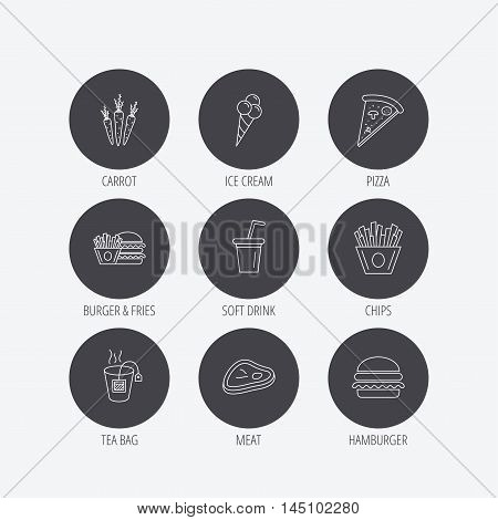 Hamburger, pizza and soft drink icons. Tea bag, meat and chips fries linear signs. Ice cream, carrot icons. Linear icons in circle buttons. Flat web symbols. Vector