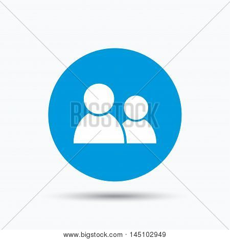 Friends icon. Group of people sign. Communication symbol. Blue circle button with flat web icon. Vector