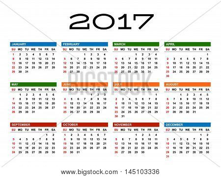 Calendar for 2017 year template. White background. Week starts Sunday. EPS 8