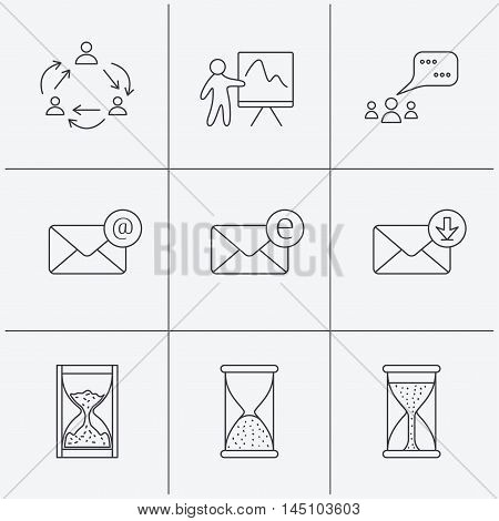 Teamwork, presentation and meeting chat bubbles icons. E-mail inbox, hourglass linear signs. Linear icons on white background. Vector