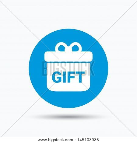 Gift icon. Present box with bow symbol. Blue circle button with flat web icon. Vector