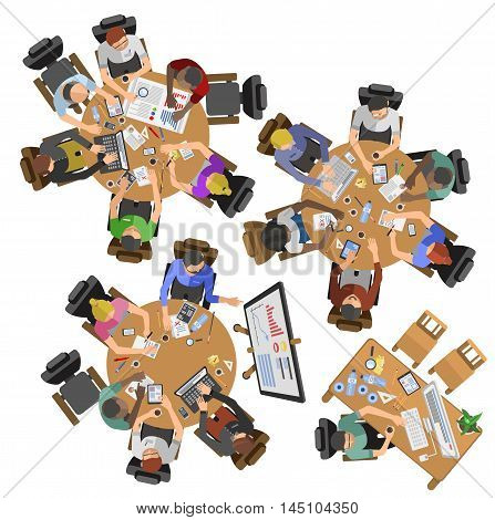 Busy business people sitting on table vector illustration. Office life, business people working in office space. Business people working in office top view illustration. Boss, managers, leader, office life vector.