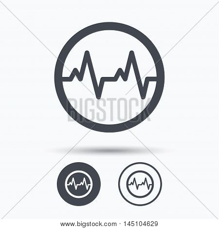 Heartbeat icon. Cardiology symbol. Medical pressure sign. Circle buttons with flat web icon on white background. Vector