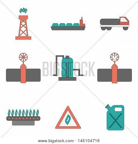 Vector illustration with flat gas production icons. Gas supply industry. Natural resource energy objects. Vector gas flame and pipeline concept. Industry design. Gas supply and transportation icons
