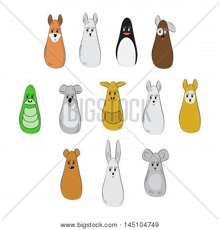 Simplified image of different cute animals and birds