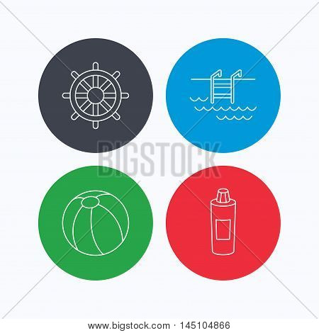 Shampoo, swimming pool and ball icons. Steering wheel linear sign. Linear icons on colored buttons. Flat web symbols. Vector
