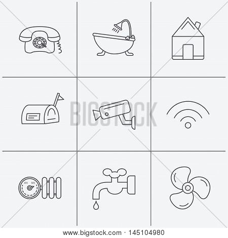 Wifi, video camera and mailbox icons. Real estate, bath and water supply linear signs. Radiator with heat regulator, phone icons. Linear icons on white background. Vector