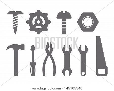 Manual tools and instruments set, isolated icons, vector illustration
