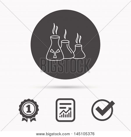 Industry building icon. Manufacturing sign. Chemical toxic production symbol. Report document, winner award and tick. Round circle button with icon. Vector